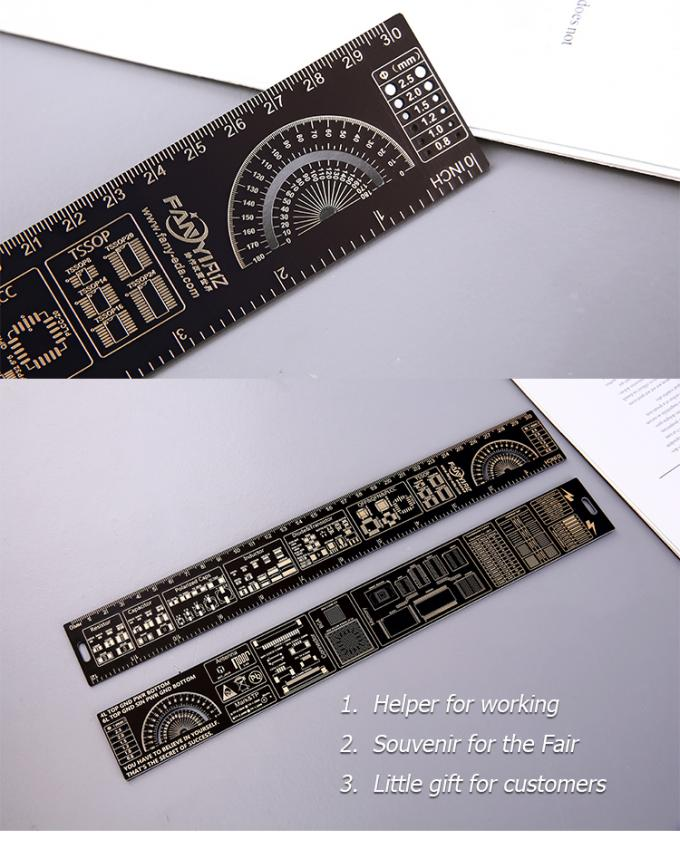 15cm / 20cm / 25cm / 30cm Gold Plated Pcb Reference Ruler Multifunctional Measuring Tool